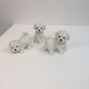 Vintage Homco Maltese Figurines set of 3